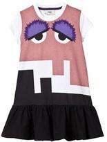 Fendi White and Pink Monster Print Jersey Dress