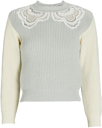 Self-Portrait Guipure Lace-Trimmed Rib Knit Sweater