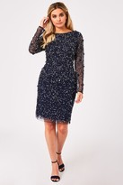 Little Mistress Jenny Navy Sequin Bodycon Dress