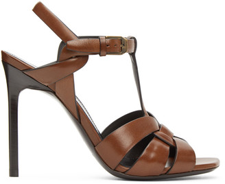 Saint Laurent Brown Leather Tribute 105 Heeled Sandals