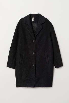 H&M Wool-blend Boucle Coat - Black