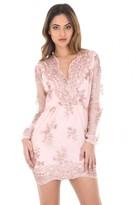 AX Paris Wrap Front Pink Sequin Dress