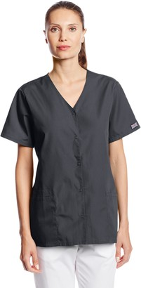 Cherokee Women's Workwear Scrubs Snap Front V-Neck Top