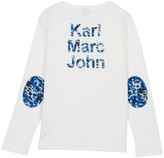 Little Karl Marc John Tichou Henley Neck T-Shirt with Elbow Patches