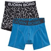 Bjorn Borg Black and Blue Two Pack Pattern Boxer Shorts
