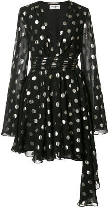 Saint Laurent polka dot asymmetric dress