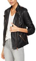 Mint Velvet Leather Collarless Biker Jacket, Grey