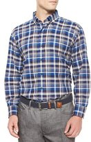Peter Millar Milano Oxford Plaid Woven Sport Shirt, Blue