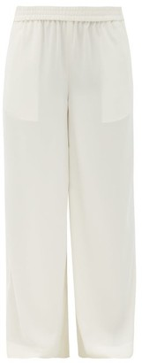 Co Elastic-waist Crepe Wide-leg Trousers - Ivory