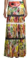 Fuzzi Floral-Print Tulle Maxi Skirt