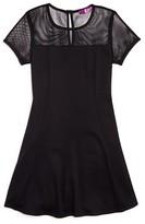 Aqua Girls' Mesh Trimmed Knit Dress - Sizes S-XL