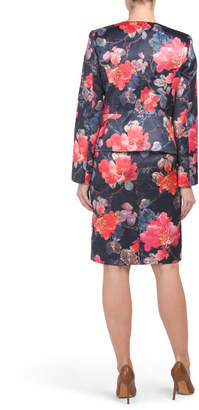 Floral 4 Button Jacket With Pencil Skirt Set