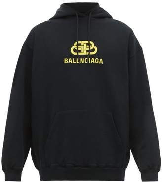 Balenciaga Bb Logo Print Cotton Hooded Sweatshirt - Mens - Black Yellow