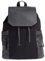 Phase 3 Denim & Faux Leather Backpack - Black