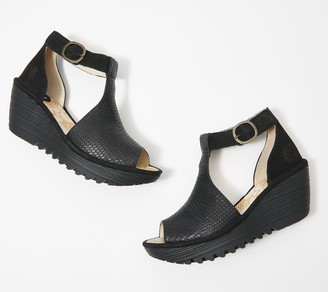 Fly London Leather T-Strap Wedges - Yato