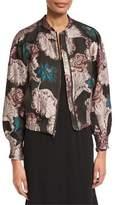 Co Floral Brocade Zip Bomber Jacket, Multi