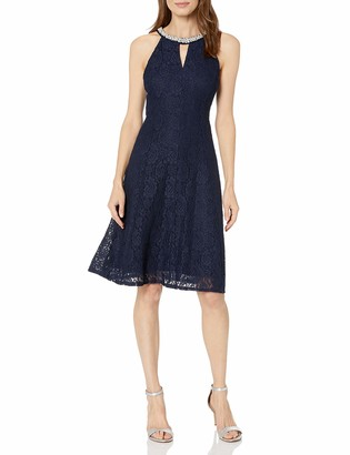 London Times Women's Sleeveless Halter Lace Fit & Flare Dress