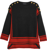 Alexander McQueen Button-embellished Two-tone Cashmere Sweater - Black
