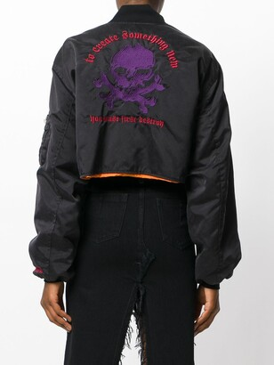 Unravel Project Cropped Skull Bomber Jacket