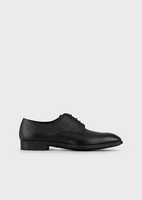 Giorgio Armani Derby Shoes In Linen-Printed Leather
