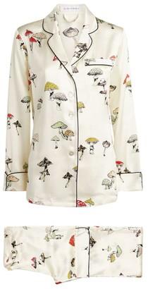 Olivia von Halle Silk Lila Mushroom Print Pyjama Set
