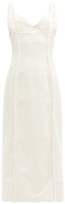 Jacquemus Valerie Bustier-cup Cutout Frayed-seam Midi Dress - Light Beige