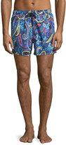 Etro Large Paisley Swim Trunks, Navy Blue
