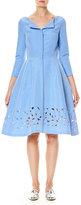 Carolina Herrera 3/4-Sleeve Silk Faille Shirtdress, Blue