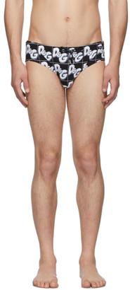 Dolce & Gabbana Black All Over Print Swim Briefs