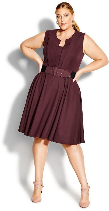 City Chic Vintage Veronica Dress - bordeaux