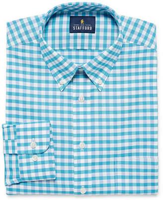 STAFFORD Stafford Travel Wrinkle Free Stretch Oxford Mens Button Down Collar Long Sleeve Wrinkle Free Stretch Dress Shirt