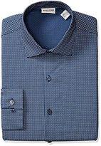 Kenneth Cole Reaction Men's Technicole Slim Fit Square Print Spread Collar Dress Shirt