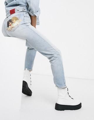 Fiorucci Tara angel patch straight leg jean
