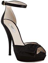 Prada black satin peeptoe bow detail platform heels