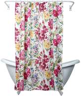 India Ink Watercolor Floral Fabric Shower Curtain