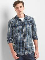 Gap Western plaid slim fit shirt