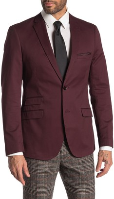 Paisley & Gray Dover Burgundy Solid Two Button Notch Lapel Slim Fit Suit Jacket