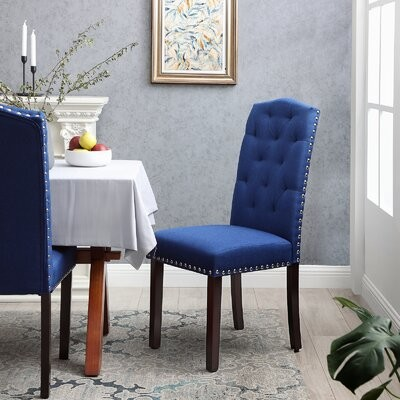 Red Barrel Studio Tannis Tufted Upholstered Parsons Chair Upholstery Color Royal Blue Shopstyle