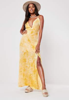 Missguided Yellow Tie Dye Plunge Maxi Dress