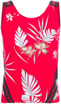 Paco Rabanne Cropped Monogram-trimmed Printed Stretch Tank