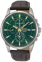 Seiko Snaf09p1 Chronograph Leather Strap Watch, Brown/green