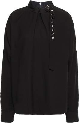 Tibi Buckle-detailed Twill Blouse