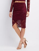 Charlotte Russe Lace Ruched Pencil Skirt