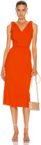 Oscar de la Renta Sleeveless Midi Day Dress in Orange | FWRD