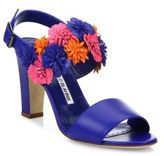 Manolo Blahnik Khanfior 90 Flower Leather Slingback Sandals