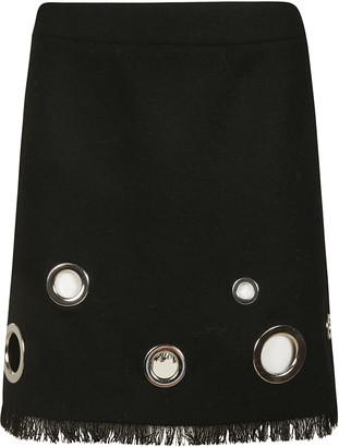 Moschino Eyelet Detail Fringed Hem Skirt