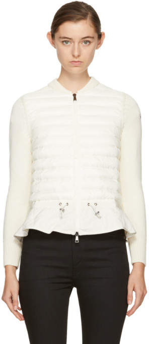 Moncler Off-White Down Knit Peplum Jacket