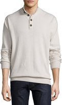 Luciano Barbera Cashmere Button-Collar Sweater, Ivory