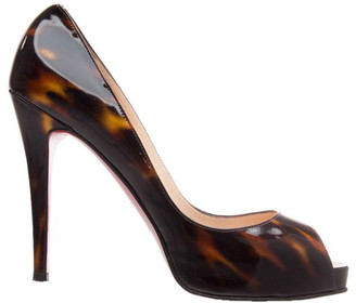 Christian Louboutin Brown Patent Leather Sakaouette Peep Toe Pumps Size 38