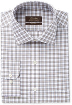 Tasso Elba Men's Classic-Fit Non-Iron Tan Herringbone Gingham Dress Shirt, Only at Macy's